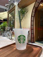Yeni Kalite Starbucks 16 OZ / 473 ml Plastik Bardak Kullanımlık Şeffaf Düz Fincan Sütun Kapak Sippie Kupası Bardian 5 adet Kupa