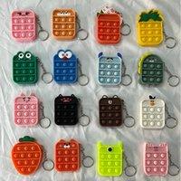 Fidget Toy Sensory Keychains Party Favor Push Bubble Cartoon Simple Dimple Key Chain Stress Reliever Decompression Toys ZZA3377