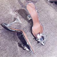 7-9CM Rhinestones Women Shoe Pointed Transparent Sandals Summer Luxury Designer Wedding Shoes High Heels With Stiletto In Stock