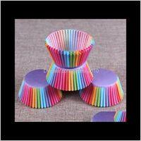 컵 케이크 PVC 양동이 무지개 베이킹 머핀 케이크 초콜릿 컵 찹쌀 종이 트레이 포장 포장 100 개 / 세트 Ukkru mvczw