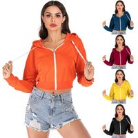 Drawstring Hooded Long Sleeve Hoodie Sweatshirts Zip Up Crop Casual Stripe Jacket Zipper Coat Outwear Women's Hoodies &