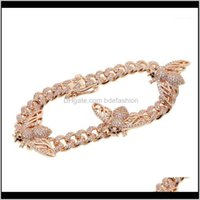 Link, Bracelets Jewelryrose Gold Color 5A Cubic Zirconia Link Women Hip Hop Jewelry Iced Out Bling Cz Bee Charm Cuban Chain Bracelet1 Drop D