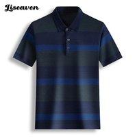 LiseAVEN Men's Camiseta Turn-Down Collar Color Basic Manga Curta Slim Camisetas Para Homens