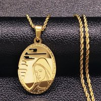 The Virgin Mary Stainless Steel Long Necklace Men Jewerly Gold Color Choker Hip Hop Jewelry Collares Hombre N17850 Pendant Necklaces