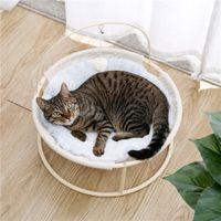 Katzenbetthäuser Weiche Plüsch Hängematte abnehmbares Haustier mit Tropfen erhältlich in kleinen und mittleren Hund beige das ganze Jahr über