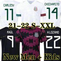 Mexique Jersey Soccer Jersey Home Black Purpal Copa America 20 21 Chicharito A. Guardado H. Lozano Herrera Dos Santos 2021 Shirt de football Hommes + Kit Kit Kit Uniformes Maillots