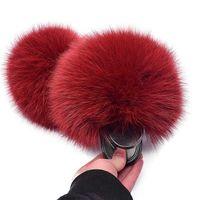 Kids Fur Slippers Fluffy Raccoon Fur Slides Fluffy Real Fox Fur Flip Flops Children's Lacing Open-toe Sandals Cute Rainbow Shoes