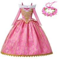 Yofeel 멋진 파티 공주 오로라 드레스 소녀 잠자는 아름다움 의상 키즈 핑크 공 가운 크리스마스 생일 공주 의상 T200624