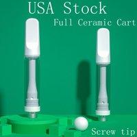 EE.UU. Stock Cartucho de cerámica completo 1.0 ml Atomizador libre de plomo vacío Vapeable vapeable Vape Pen 2.0mm Tanque de aceite de grosero Calidad prometida 510 Hilo Carros