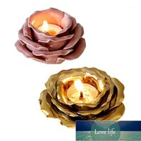 Creative Refined Petal-Shaped Water Lily Ceramic Candlestick Golden Candle Holder Candle Cup1