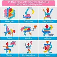 Formas Cambiable Push Pop Fidget Bubbles Popper Toys Sensory Silicone Jigsaw Tangram Puzzle Ding Bubble Fingtion Desktop Padre Niños Juego G61tsqq