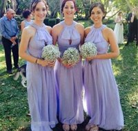 Bridesmaid Dress Country Style Long Halter Neck Lavender Chiffon Formal Maid Of Honor Wedding Guest Gown Custom Made Plus