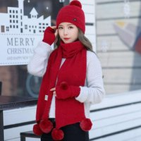 2021 new autumn and winter cold proof hat scarf gloves three piece set fashionable outdoor warm keeping VF0R