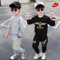 Özel kendi marka erkek spor orta çocuk bahar iki parçalı takım 4 Kore tarzı 5 yakışıklı 6 moda 8 10 yaşında erkek giysileri