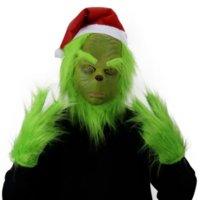 Хэллоуин зеленый меховой монстр гринч Рождественские Geek Full Face Latex маска Перчатки Halloween Party смешные реквизиты косплей пасхальная маска FY9562