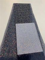 (5 yards / ПК) Высококачественные африканские тюль кружева полностью вышитая французская чистая кружевная ткань с блестками для вечеринки FD39