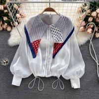 Women's Jackets Korobov 2021 Autumn Women Thin Coats Korean Office Lady Turn-Down Scraf Puff Sleeve Vintage Drawstring Jacket