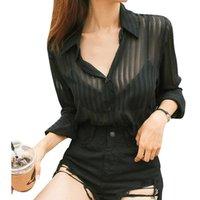 Marka Kadınlar Moda Gömlek Turndown Yaka Uzun Kollu Şeffaf Çizgili Bluz Seksi Yaz Kimi Blusas Mujer Kadın Bluzlar Shi Tops