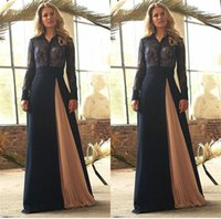 Navy Blue Lace Evening Dresses 2021 A Line V Neck Long Sleeves Modest Fromal Prom Gowns Pleats Skirt Gorgeous Mother Of The Bride Groom Dress Custom Made
