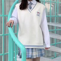 Women's Vests Autumn And Winter Women Vest Korean College Style V-Neck Sweater Loose Versatile Knitting Pullover Japanese Cartoon