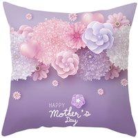 وسادة القضية سعيدة عيد الأم الكلمات هدية الوردي زهرة صورة وسادة غطاء للمنزل أريكة الزخرفية سادات EEB6074