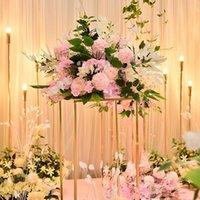 Personalizar 40 cm Artificial Rose Tabla de la boda Decoración de la bola de la flor Piedra Partido Fiesta Floral Road Line Decorativo Flores Guirnaldas