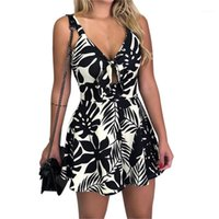 Women's Jumpsuits & Rompers Jumpsuit Short Casual Loose Women Fashion Print Strap Playsuits Chest Bow Tie Hollow Body Mujer1
