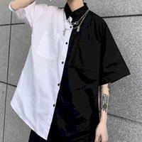 Nicemix gótico patchwork mujeres blusas camisas blanco y negro bf ropa vintage verano tops camisa más tamaño pareja blusa