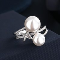 Wedding Rings 7Rings Classic Trendy Two Pearl Diamond Silver Star For Women Luxury Jewelry Accessories Party