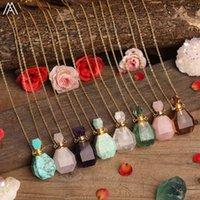 Beauté Huile Essential Pendentif Natural Smoky Color Quartz Turquoise Bouteille de parfum Fluorite pour femmes Collier bijoux