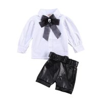 Clothing Sets 1-6Y Fashion Infant Baby Girls Clothes Bowknot Collar Long Sleeve Single Breasted Shirts PU Leather Shorts