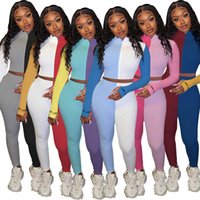 Lucky Beatsuits Trajes de chándal para las mujeres 2 piezas Set Zip Top Leggings Patchwork Skinny Stretch Fall Fall Jets Girl