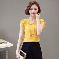 Women's Blouses & Shirts Summer Women Elegant Shirt Chiffon Solid Color Short Sleeve Bow Tie Ladies Formal Office Blouse Casual Korean Versi