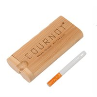 NEWNatural Bamboo Dugout Wood Case With Ceramic One Hitter Bat Pipe 78mm Cigarette Filters Pipes Smoking Pipes LLF10832