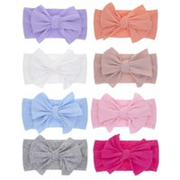 Hair Accessories Baby Band For Girls Bow Elastic Headbands Solid Color Turban Kids Headware Head Wrap Children