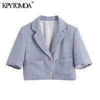 Kadın Takım Elbise Blazers Kpytomoa Kadınlar 2021 Moda Yıpranmış Trims Things Ile Theced Kırpılmış Blazer Ceket Vintage Kısa Kollu Cepler Kadın Outerwea