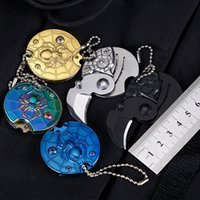 Creative Mini Coin Knife Outdoor Camping Self-defense Folding knives Key Catch Portable Survive Pocket Multi-function Bottle Opener EDC Tools HW496