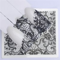 Water Transfer Nail Art Stickers Black Lace Flowers Design DIY French Nails Decals Art Tips Decoration Foils Stamp Tools Manicure Beautiful Fashion Accessories