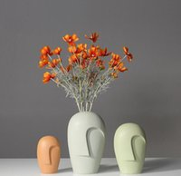 Creative Nordic Modern Minimalist Style Face Ceramic Vase Furniture Decoration Personality Ornaments Vases