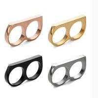 Нержавеющая новая стальная костястая костяная одежда Цустер Кольцо Личности Двойной Пальца Праздничная Изысканная подарки Титановое стальное кольцо