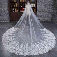 Romantik 1 Katmanlı Düğün Veils 2020 Custom Made Şampanya Beyaz Fildişi Katedrali Uzunluğu Dantel Aplike Gelin Peçe En Kaliteli
