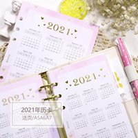1 ورقة الوردي 6 ثقوب 2021 التقويم A5 A6 A7 دفتر مؤشر مقسم ليوميات الموثق شهري مخطط ملون ورقة ورقة المفكرة