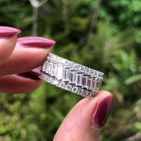 Choucong Brand Fashion Real 925 Sterling Silver Created Moissanite Diamonds Gemstone Wedding Fine Jewelry Engagement White Gold Rings Gift