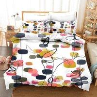 الفراش مجموعات الحبر اللوحة مجموعة الزهور السرير الكتان الفاخرة غطاء لحاف المخدة النباتات الخضراء أغطية بسيطة المنسوجات المنزلية