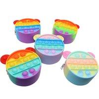 Rainbow Coin Purse Pops Poussez Bubble Fidget Jouets Adulte Stress Relief Squeeze Jouet Decompression Decompression Soft Squishy Kids Cadeaux de Noël