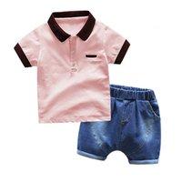 الأطفال الصيف قصيرة الأكمام عارضة قميص بولو الأزياء الدنيم السراويل اثنان قطعة مجموعة الاطفال