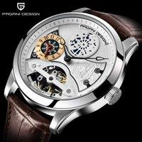 Tourbillon en cuir Montres automatiques Hommes Montres en acier mécanique Relogio Masculino PD 1635 montre-bracelet