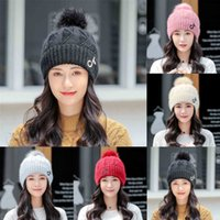Fur pom pom winter beanies hat tik tok musical note embroidery slouchy thick warm cuff knitted skull caps solid color outdoor sports skiing headwear G97OWKD