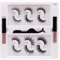 False Eyelashes 2 Magnetic Eyeliner 6 Pairs Set Glue-Free Iron-Absorbing Stone Natural Thick