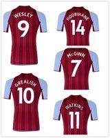 Personnalisé 21-22 Accueil Jersey Soccer Jersey Yakuda Local Local En ligne Dropshipping accepté Grealish # 10 Wesley # 9 McGinn # 7 Porter des kits d'hommes de football